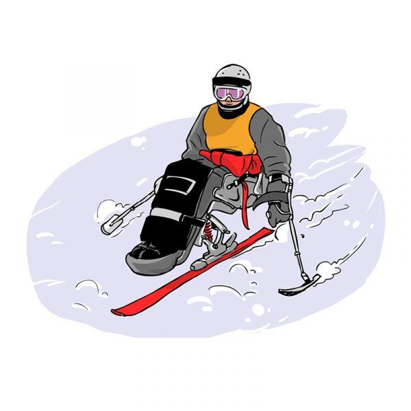 Dessins - ski assis